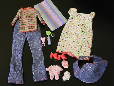 HAPPY FAMILY Barbie Pregnant Midge & Baby casual Clothes & Shoes Jeans