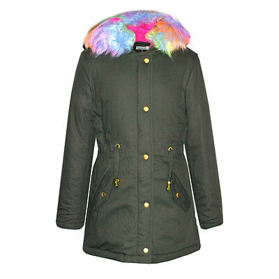 Childrens Girls Kids New Parka Coat Fur Lined Hood Winter 7 8 9 10 11 12 13 Year