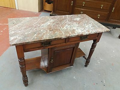 Vintage Victorian Marble Topped Two Drawer Wash Stand With Cupboard