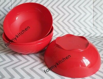 Tupperware 1 Set (4) Open House Cereal bowls Red 3 cups New!!!!
