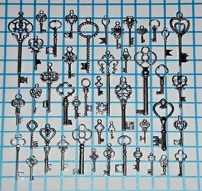 Antique Vtg old look Silver Skeleton Keys Lot Ornate Steampunk Heart Bow Favors