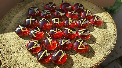 Custom Red/Gold Nordic Rune set + pouch&guide Wicca divination pagan cleansed