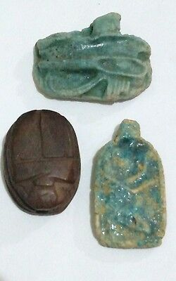 Lot of 3 Egyptian Antiques, Horus eye, Amarna Faience & Scarab Curved stone