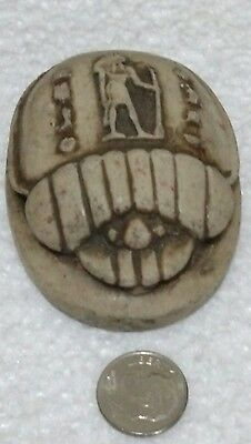 Egyptian Antique, Large Beetle Scarab, Curved Stone
