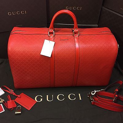 NEW Gucci Hilary Lux Diamante Large Leather Duffle. Tobasco Red. $2,758