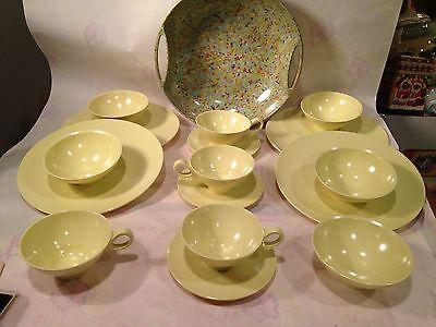 1950s BOONTON WARE MELAMINE MELMAC BUTTER YELLOW 16 Pieces*MINT*