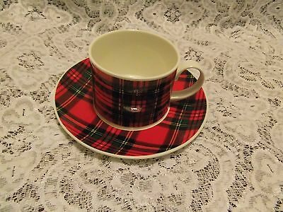 """Dunoon pottery """" ROYAL STEWART TARTAN """" cup with saucer"""