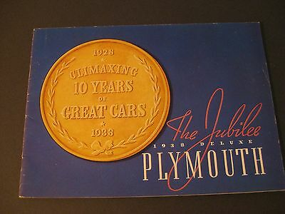 1938 Plymouth DeLuxe Car Catalog / Brochure / Sales Literature - Jubilee Year