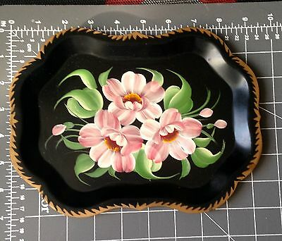 Tole Ware Toleware Black Tin Tray Hand painted Pink Flowers ¿Old?