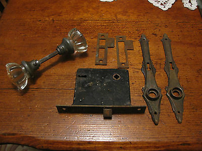 Vintage Door Lock with 12 Point Glass Door Knobs Door Lock and Door Plates, Stem