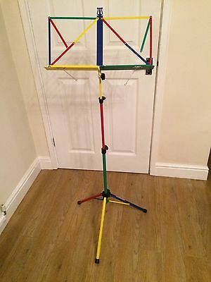 Fully adjustable folding metal music stand with carry case, multi coloured - vgc