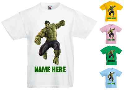 Childrens Kids Personalised Printed T-Shirt Various Colours - Incredible Hulk #2