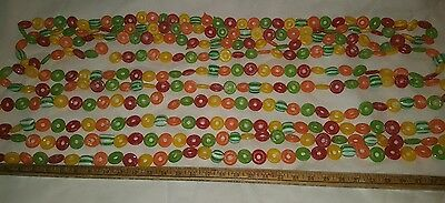 Vtg SET of 3 Sugared life savers round candy Christmas Garland PEPPERMINT 30 Ft