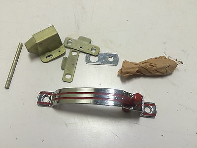 Vtg NOS National Brass Co.  Art Deco Chromium(Chrome) Cabinet Catch Handle Red