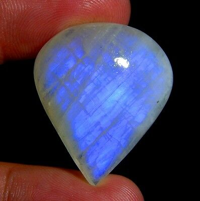 35 Ct 100% Natural Blue Fire Flashy Rainbow Moonstone Pear Cabochon Gemstone E77