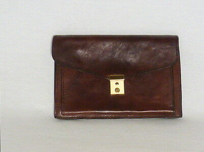 Vintage Georgetown Leather Handmade Man Purse Document Currency Travel Bag Pack