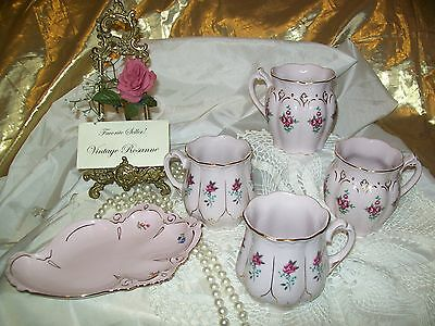Czechoslovakia Fine Porcelain ROSA Set 4 Cups & 1 Cookie Tray Tags Still Intact