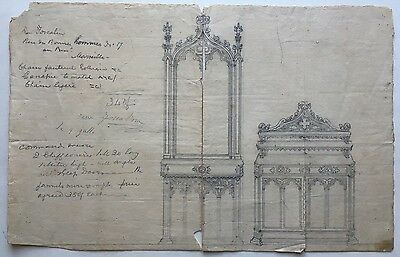 Antique 18th Century ARCHITECTURAL Drawing ARCHITECTURE Plan Signed FOSCALINA