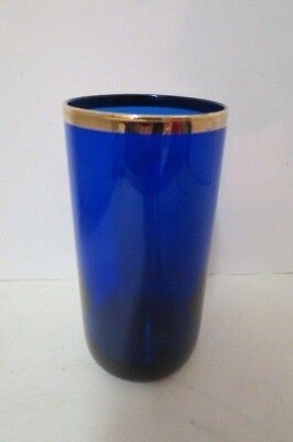 1 LIBBEY cobalt and gold rimmed tumbler