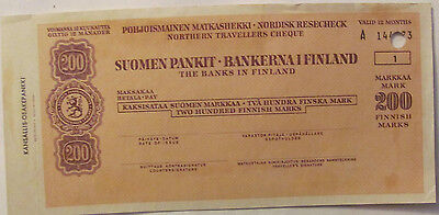 200 markkaa mark FINLAND old northern travellers cheque check