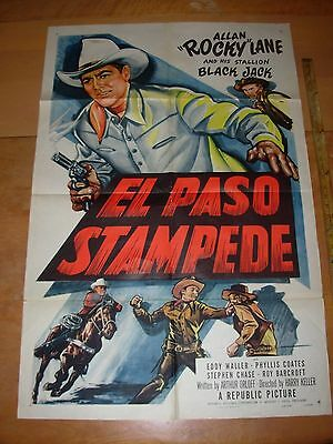 Vintage 1953 Full Size Cowboy Movie Poster El Paso Stampede Republic Pictures