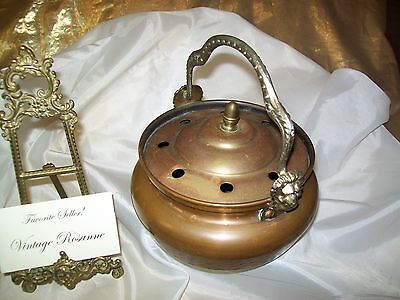 Antique Copper & Metal Humidifier Steamer Pot w Handle & Lid & Lions Each Side