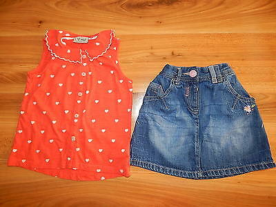 NEXT girls heart top skirt outfit bundle 4-5 years  *I'll combine postage