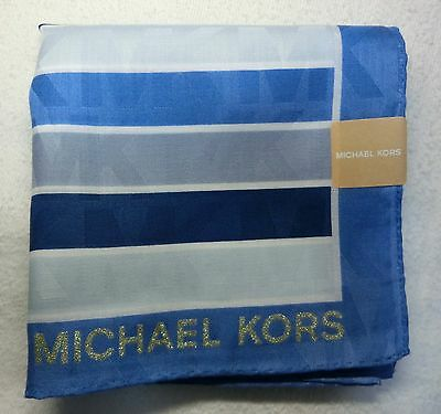 "MICHAEL KORS blue striped handkerchief 50x50cm(19.69"")cotton100% made in Japan"