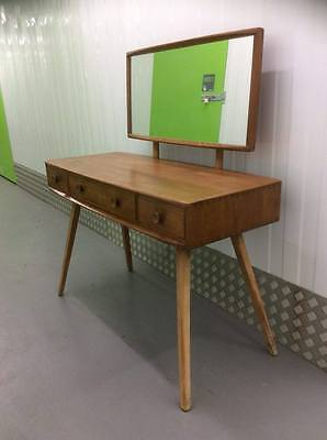 1960s Blonde Ercol Dressing Table with Mirror. Mid Century Modern Furniture.