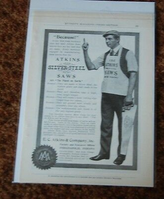 1906 Ad  Because ! Man With Pointed Finger Atkins Silver-Steel Saws