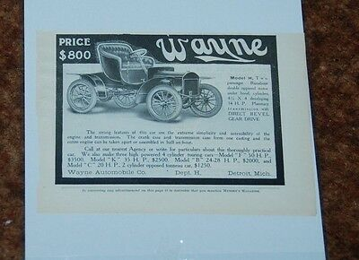 1906 Ad Wayne Model H  Detroit Michigan