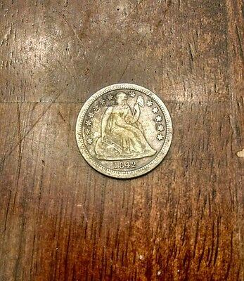 1842 10C Liberty Seated Dime drill hole