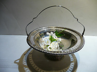 """DS SPAULDING STERLING FOOTED PIERCED CANDY DISH with HANDLE  6 3/4"""""""