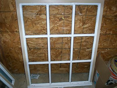 VINTAGE SASH ANTIQUE WOOD WINDOW PICTURE FRAME 9 PANE 40x30