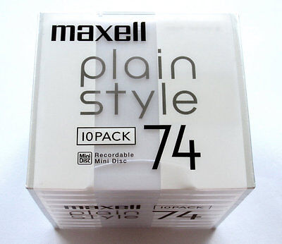 Ten (10) minidisc MAXELL plain style MD 74 '2006 RARE (new and sealed)