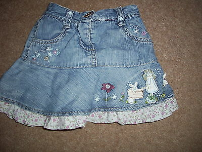 Next girls applique button trimmed denim frilled hem skirt.Age 1.5 to 2 years.
