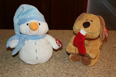 2 TY PLUFFIES WINDCHILL the SNOWMAN GOODIES THE DOG W/CANDY CANE NEW with TAGS