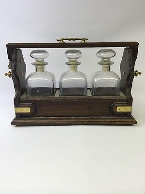 Vintage Tantalus With 3 Decanters Made In Italy