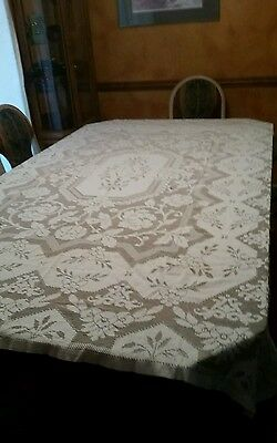 Antique Vtg Victorian Chic French Country Net Floral Filet Lace Tablecloth