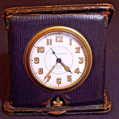 Antique Kirby Beard & Co Paris Travel Alarm 8 Day Clock, Runs, Septima 15j 3 Adj