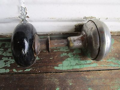 Antique Vintage  Door Knob Black Porcelain and metal Vintage Hardware