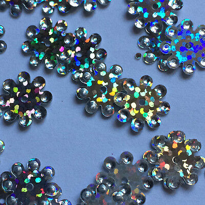 SEQUINS - Silver Coloured Flower Shaped / Size 12-14mm QTY Approx 100.