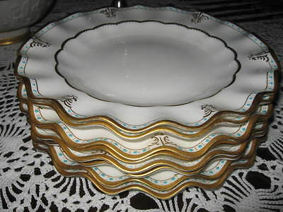 Royal Crown Derby RARE Lombardy Gold Teal Dinner Plate(s) WOW