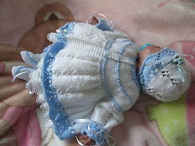 """hand knitted matinee  set 3 piece set baby  or reborn doll 18""""20"""" OR O/3 MONTH"""