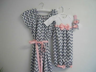 Boutique Gray Chevron Maternity and Delivery Gown Set sizes s-xl comes with matc