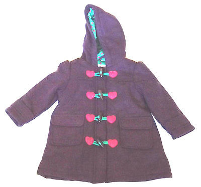 Gorgeous Childs 1½ - 2 Years M&s Purple Pink Hearts Duffle Style Jacket Coat
