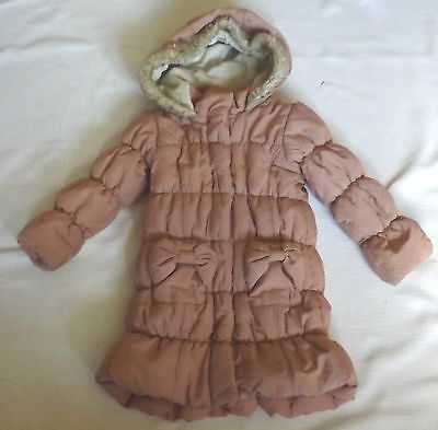 Gorgeous Childs 3-4 Years Dusty Pink Quilted Padded Long Coat