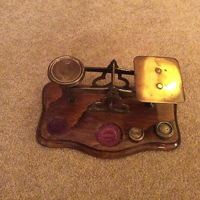 Lovely Vintage Wood and Brass Postage Letter Scales  - with some weights