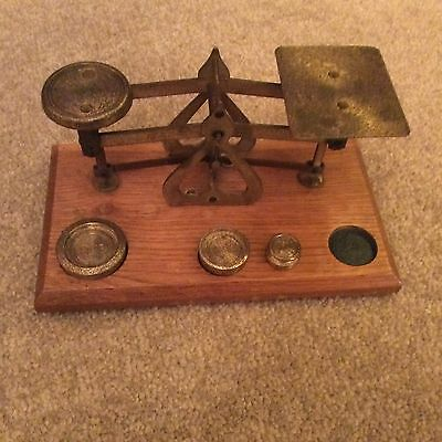 Lovely Vintage Wood and Brass Postage Letter Scales  (with some weights)