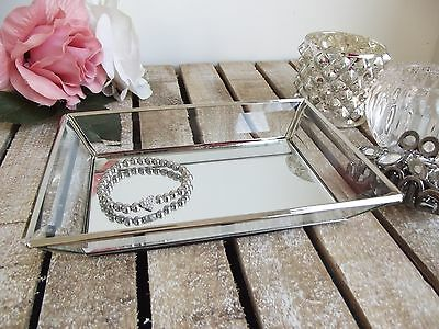 Glass & Metal Mirrored Jewellery Tray Trinket Dressing Table Display Rectangular